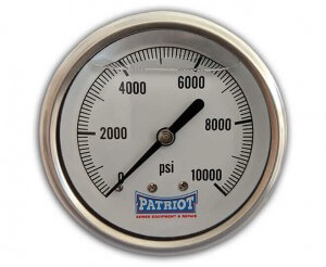 """Patriot Sewer Equipment 10000 PSI Stainless Gauge Front 300x246 - 2 ½"""" Stainless Steel Pressure Gauge (0-10000 PSI)"""