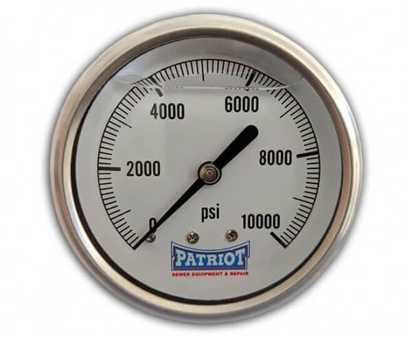 "Patriot Sewer Equipment 10000 PSI Stainless Gauge Front 600x492 - 2 ½"" Stainless Steel Pressure Gauge (0-10000 PSI)"