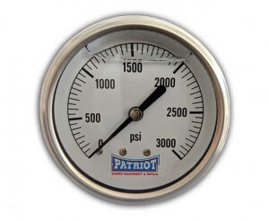 "Patriot Sewer Equipment 3000 PSI Stainless Gauge Front 300x246 - 2 ½"" Stainless Steel Pressure Gauge (0-3000 PSI)"