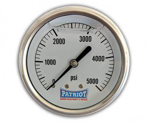 """Patriot Sewer Equipment 5000 PSI Stainless Gauge Front 600x492 - 2 ½"""" Stainless Steel Pressure Gauge (0-5000 PSI)"""